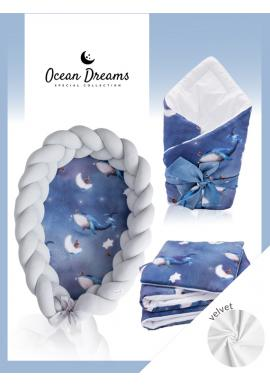 Výbava pro novorozence Velvet 4v1 - Ocean Dreams / šedá