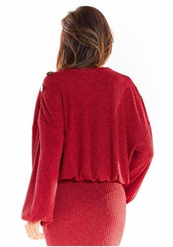 Dámský oversize svetr s kimono rukávy v bordové barvě
