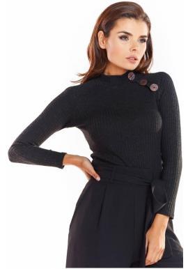 Černý přiléhavý svetr s ozdobnými knoflíky pro dámy