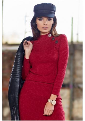 Dámský přiléhavý svetr s ozdobnými knoflíky v bordové barvě