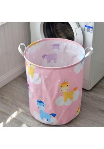 Koš na hračky nebo prádlo v růžové barvě s motivem jednorožců