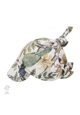 Vázaný šátek s kšiltem s motivem ornitologie - 100% bambus