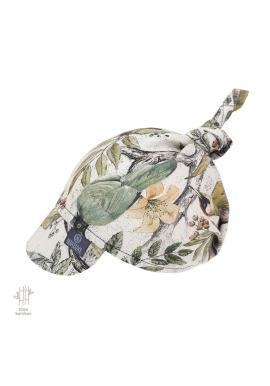 Dětský šátek s kšiltem s motivem ornitologie na gumičce - 100% bambus
