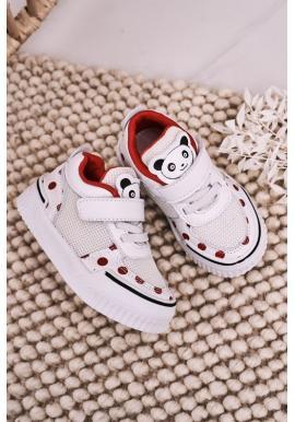 Červeno-bílé tenisky s pandou pro dívky