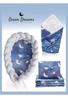 Saténová výbava pro novorozence 4v1 - Ocean Dreams / šedá