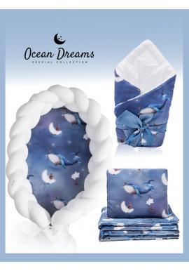 Saténová výbava pro novorozence 4v1 - Ocean Dreams / bílá