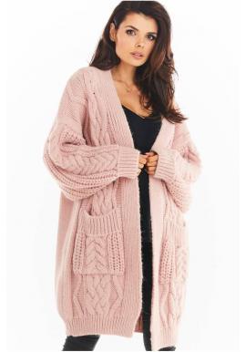 Teplý dámský kardigán růžové barvy s copy