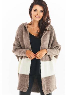 Podzimní dámský kardigán béžové barvy s kapucí