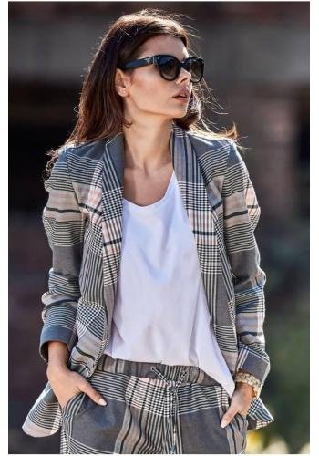 Barevné vzorované sako s volným střihem pro dámy