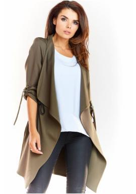 Dámské volné sako v khaki barvě