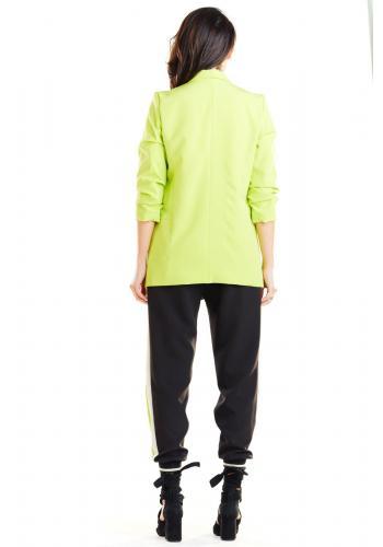 Dámské volné sako bez zapínání v limetkové barvě