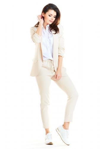 Volné dámské sako béžové barvy bez zapínání