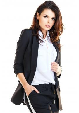 Dámské volné sako bez zapínání v černé barvě