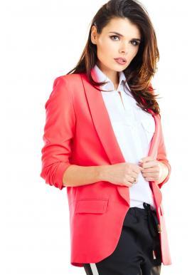 Volné dámské sako růžové barvy bez zapínání