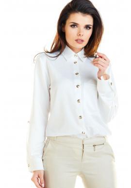 Klasická dámská košile bílé barvy se zlatými knoflíky