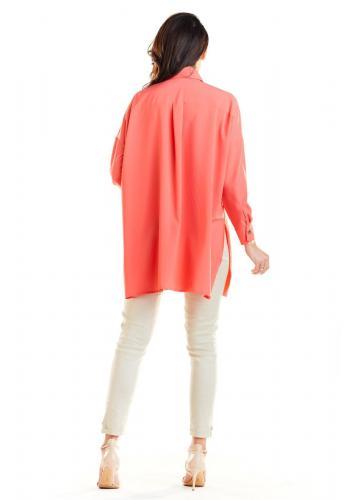 Korálová oversize košile s dlouhým rukávem pro dámy