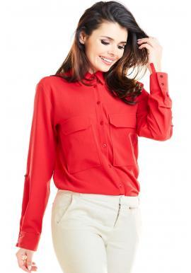 Červená klasická košile s kapsami na hrudi pro dámy
