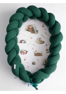 Dětské pletené hnízdo PREMIUM 2 v 1 - zelené / Forest Moments