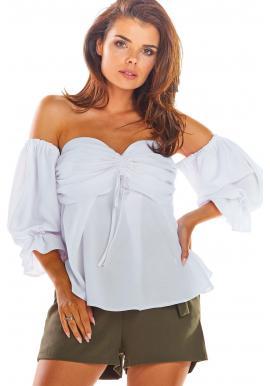 Letní dámská halenka bílé barvy s odhalenými rameny