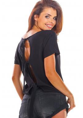 Dámská módní halenka s vázáním na zádech v černé barvě