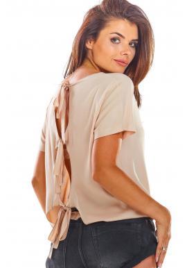 Béžová módní halenka s vázáním na zádech pro dámy