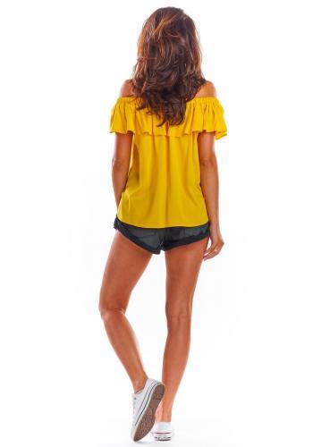 Žlutá letní halenka s volánem pro dámy