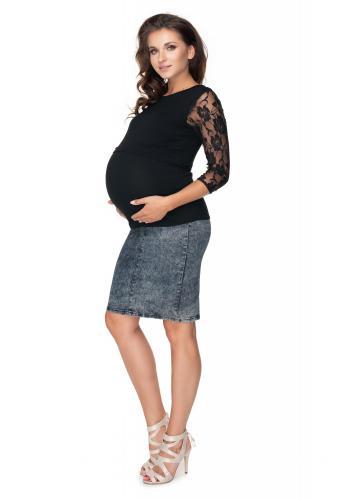 Těhotenská a kojící halenka s dlouhým rukávem s krajkou v černé barvě