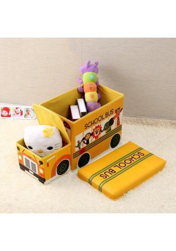 Modrý koš na hračky v podobě policejního auta