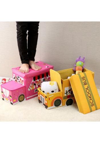Koš na hračky v podobě zmrzlinového auta v růžovo-bílé barvě
