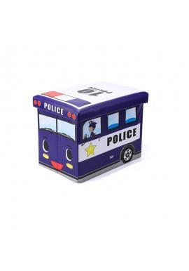 Modrý koš na hračky - taburetka v podobě policejního auta