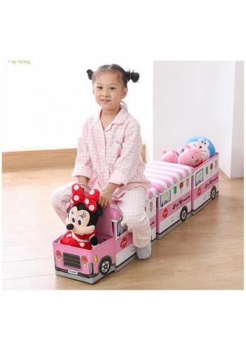 Koš na hračky - taburetka v podobě hasičského auta v červené barvě
