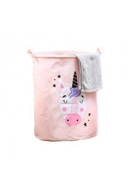 Růžový koš na hračky nebo prádlo s motivem jednorožce