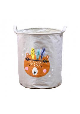 Koš na hračky nebo prádlo s potiskem v šedé barvě