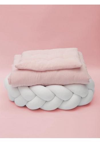 Mušelínové povlečení s integrovanou výplní v pudrově růžové barvě