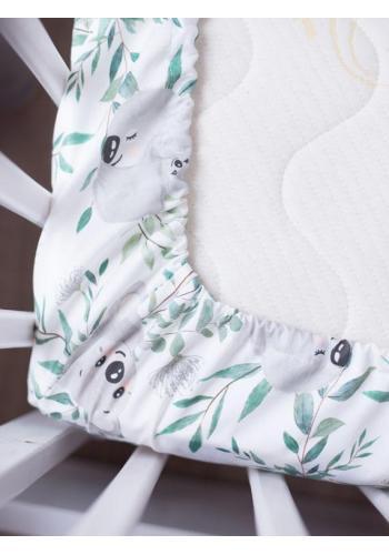 Dětské bavlněné prostěradlo na postel s gumkou s motivem koaly