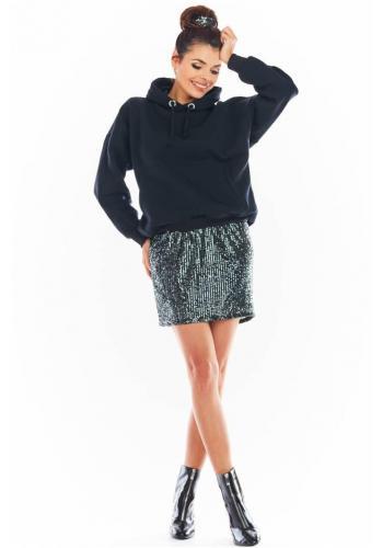 Mini dámská sukně tmavě šedé barvy s flitry