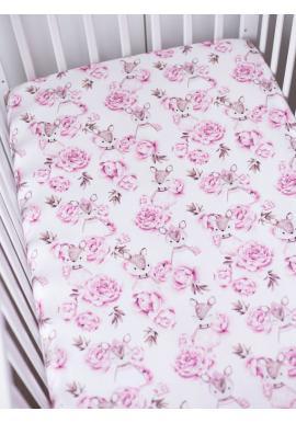 Bavlněné prostěradlo na postel s gumkou s motivem srnek a květů