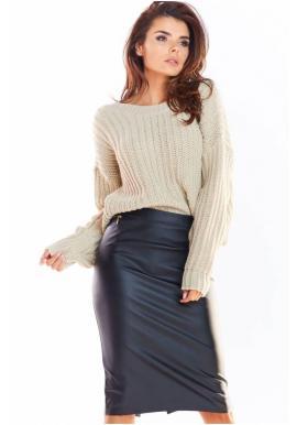 Tužková dámská sukně černé barvy z ekokůže