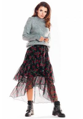 Dámská tylová sukně se vzorem v černé barvě