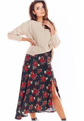 Asymetrická dámská sukně černé barvy s květovaným potiskem