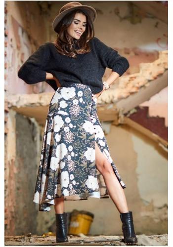 Černá asymetrická sukně s květovaným potiskem pro dámy