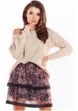 Dámská vzorovaná sukně s krajkou