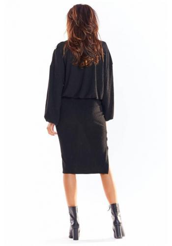 Černá tužková sukně s ozdobnými knoflíky pro dámy