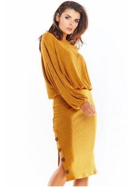 Dámská tužková sukně s ozdobnými knoflíky ve velbloudí barvě