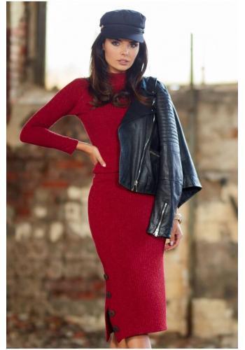 Tužková dámská sukně bordové barvy s ozdobnými knoflíky