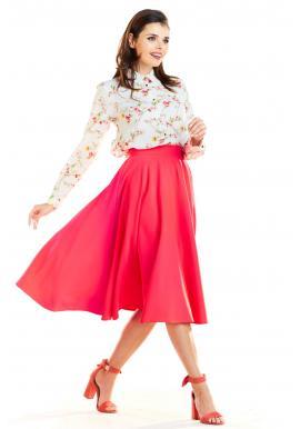 Dámské rozšířené sukně s kapsami v růžové barvě