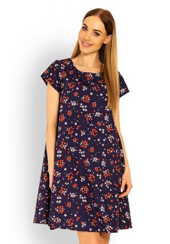 Tmavomodré vzdušné šaty s krátkym rukávom kvety pre dámy