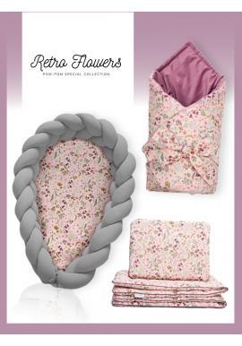 Výbava pro novorozence 4v1 - Retro květy / tmavě šedá