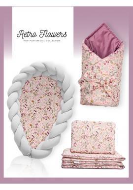 Výbava pro novorozence 4v1 - Retro květy /světlešedá