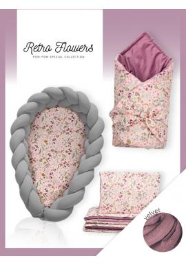 Novorozenecká výbava Velvet 4v1 - Retro květy / tmavě šedá